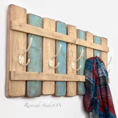 Wood Coat Rack Nautical Blue \/ OOAK Coat Hook \/ Shabby Cottage Beach Chic Furniture\/ Ships from Canada by RiversideStudioON on Etsy Baños Shabby Chic, Muebles Shabby Chic, Shabby Chic Bedrooms, Shabby Cottage, Shabby Chic Homes, Shabby Chic Furniture, Bedroom Furniture, Coastal Cottage, Beach Furniture