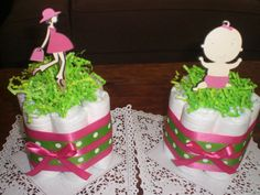 Pregnant Mom Diaper Cake Baby Shower Centerpiece Pink and Green in other sizes and toppers and colors too on Etsy, $10.00