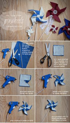 DIY Felt Pinwheels...so versatile! One layer or two, dress them up with buttons, lace, or twine-wrapped dowels. {tutorial by Lisa Frank for liagriffith.com}