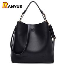 High Quality Leather Women Bag Bucket Shoulder Bags Solid Big Women Handbag Set Large Capacity Tote Bolsas Feminina Famous Brand(China)