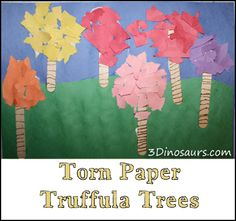 Torn paper Truffula Tree craft - construction or tissue paper, craft stick, markers or paint