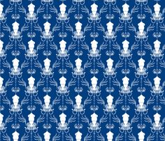 Squid Damask Navy/White fabric by pi-ratical on Spoonflower - custom fabric