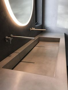 Concrete Sink Modern Farmhouse Trough Made to Order Opusconcrete Concrete Sink Modern Farmhouse Trou Concrete Sink Bathroom, Trough Sink Bathroom, Modern Bathroom Sink, Modern Sink, Modern Bathroom Design, Bathroom Interior Design, Bathroom Faucets, Master Bathroom, Bathroom Ideas