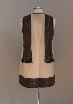 Donated by the Tsantilis family. Sleeveless off-white woolen overcoat with black. Folklore, Off White, Greece, Foundation, Formal Dresses, Inspiration, Clothes, Collection, Black