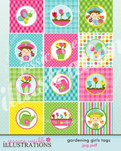 Gardening Girls Theme - Printable Party Tags - Circles -Cupcake Toppers. $5.00, via Etsy.