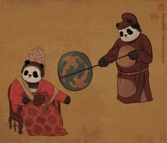 A Panda Queen In Tang Dynastys Fashion Enjoys Breeze Produced By Her Eunuch Servant