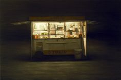 Dan Witz Danish Hot Dog Stand. 2008 26x38 oil and mixed media on canvas