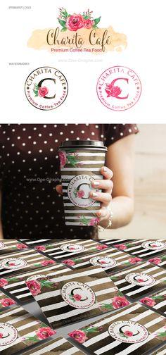 Coffee Shop - Portfolio www.One-Giraphe.com #branding #logo #coffee #coffeeshop #stripe #watercolor #flowers