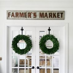 """My office doors. #boxwoodwreath #office #farmersmarket #farmhousestyle #tapphotoforsources #farmersmarketsign #abowlfulloflemons"" Photo taken by @abowlfulloflemons on Instagram, pinned via the InstaPin iOS App! http://www.instapinapp.com (08/28/2015)"