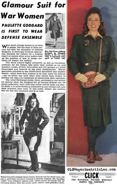 """Glamour suit for war women - """"noted Hollywood stylist, Irene, performed a real service for defense when she designed her all-around defefense suit. Of sturdy garbardine, worn with long cotton socks and plastic shoes, it is nevertheless as attractive as any civilian suit, and more practical than most.""""--I <3 Paulette Goddard."""