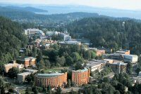 Aerial view of the Western Washington University campus in Bellingham, WA. Where I went to college, and met my love. Western Washington University, America Washington, Washington State, Western College, Northwest College, Pacific Northwest, Great Places, Beautiful Places, Bellingham Washington
