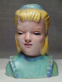A Rare Esther Shirley California Pottery Hand Decorated Young Woman Head Bust. The piece is about 5 tall. Vintage Pottery, Young Women, Blouses For Women, California, Woman, Disney Princess, Ebay, Vintage Ceramic, Women