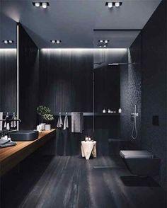 New dark wood tile bathroom inspiration Ideas Bathroom Design Luxury, Modern Bathroom Design, Modern House Design, Bath Design, Bathroom Designs, Modern Luxury Bathroom, Bathroom Lighting Design, Modern House Facades, Minimal Bathroom