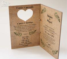 Convite Casamento Madeira - Estampado - Livreto