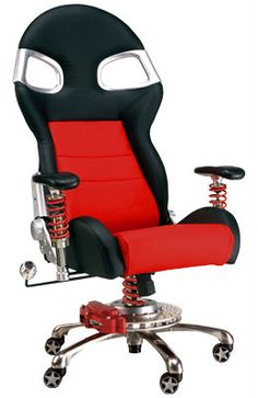 This Racing Chair is perfect reward for sales leaders and consumer promotions.  From the head stock to the racing wheels this chair screams fast.