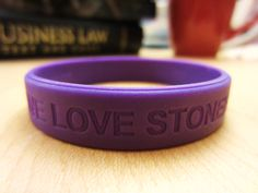 """I love Stonehill"" purple wristband- $5 supports a Stonehill student 