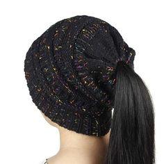 Winter Wool Knitted Messy Bun Hats For Women Ponytail Skullies Beanies Crochet Ear Flap Winter Caps Bonnet Femme Gorros Touca