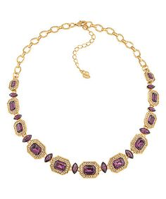 Love this Simulated Amethyst & Gold Necklace on #zulily! #zulilyfinds