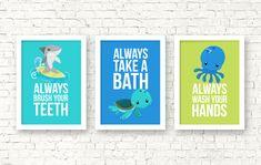 Sea animals bathroom kids decor kids by RainbowsLollipopsArt