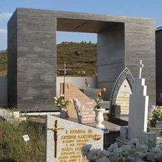 This tomb for a family on the mountainside in Arganil, Portugal, is by Portuguese architect Pedro Dias.