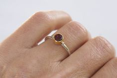 Rhodolite Ring 925 Silver and Gold Ring Gemstone Women Gold And Silver Rings, 925 Silver, Golden Ring, Bracelet Sizes, Stone Rings, Fashion Rings, 18k Gold, Handmade Jewelry, Gemstones