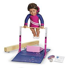 american girl bar and beam set+ gymnastics outfit ---> she's got the outfit. But she's dead set on the rest of it for Christmas! American Girl Doll Gymnastics, American Girl Doll Sets, My American Girl Doll, American Girl Crafts, American Girl Outfits, Ag Dolls, Girl Dolls, Barbie Doll Set, Gymnastics Birthday