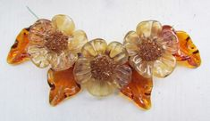 Lampwork flower beads, brown glass beads for necklace, handmade lampwork beads #Lampwork