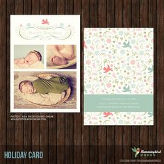 5x7 Christmas / Holiday Card and Birth by TheHummingbirdPress, $8.00