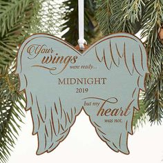 Buy Angel Wings Personalized Pet Memorial Wood Ornament you can customize with any dog, cat or pet's name & memorial dates. Memorial Ornaments, Personalized Christmas Ornaments, Wood Ornaments, Angel Ornaments, Wooden Angel Wings, Blue Stain, Blue Wood, Christmas Angels, Christmas Ideas