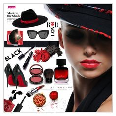 """""""RED AND BLACK!!!"""" by kskafida ❤ liked on Polyvore featuring beauty, Illesteva, The Collection by Phuong Dang, Paolo Errico, Bobbi Brown Cosmetics, Maria Stuart, Kevyn Aucoin and Christian Louboutin"""