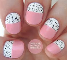 One Nail To Rule Them All: Spotty Halves - Nagelkunst Video Shellac Toes, Cnd Nails, Uv Gel Nails, Shellac Colors, Manicures, Short Almond Nails, Almond Nail Art, Nail Art Blog, Short Nails Art