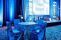 Blue event decor.