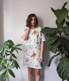 LAST ONE - Floral Bouquet Linen Shift Dress - Handmade on Etsy, $155.06 CAD