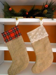 Burlap Christmas Stockings - His and Hers. $40.00, via Etsy.