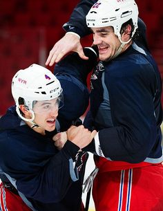 Brian Boyle and Michael Del Zotto during practice in Stockholm before the 2011 NHL premiere.