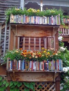 "Faux Book Window Box Planter. Cute, but why would you have all these ""books"" outside? Looks out of place to me."