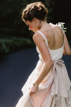 Stunning bridal separates in dusty pink and white. Perfect up do.