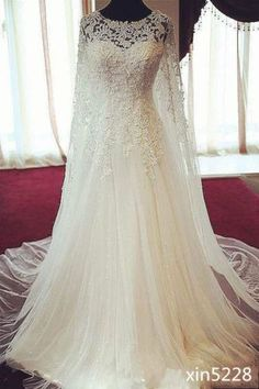 Fall-Winter-New-Vintage-Lace-Wedding-Dresses-With-Cape-Cloak-A-Line-Bridal-Gowns