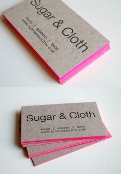 letterpress kraft business cards with hot pink edges