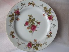 Vintage Summit Moss Rose Salad Plates Set of Four by thechinagirl
