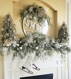 Winter-White Mantel. This is pretty but I don't know many folks who have a pristine pair of skates just lying around. Let the snow outside be the inspiration for a mantel awash in whites. All decked out with star-studded mini trees and boughs of faux-snow-covered greenery, the arrangement is complete with a pair of white ice skates.