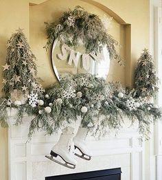 Pretty Winter-White Mantel