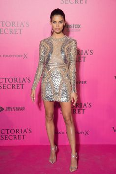 Sara Sampaio on the pink carpet for the Victoria's Secret fashion show 2016.