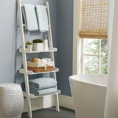 Low Bathroom Shelves - This is a glorious thing when they're speaking about statue out additional toilet storage with shelvin Zen Bathroom, Bathroom Towels, Bathroom Cabinets, White Bathroom, Bathroom Furniture, Modern Bathroom, Rustic Furniture, Bathroom Ideas, Antique Furniture