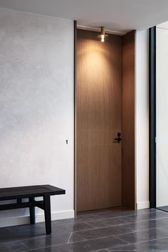 Attention to detail and expression of quality should always start at the front door. Full-height doors framed with timber reveals and lit… Door Design Interior, Home Room Design, Modern Interior, Interior Architecture, House Design, Modern Door Design, Modern Wood Doors, Contemporary Doors, Wooden Doors