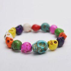 Mens Super Unique Hip Real Srone Color Skull Beads Bracelet By Guylook.com