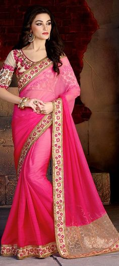 180364 Pink and Majenta  color family Embroidered Sarees, Party Wear Sarees in Bemberg, Faux Chiffon fabric with Lace, Machine Embroidery, Resham work   with matching unstitched blouse.