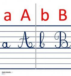 Une frise murale avec l'alphabet en script et en cursif (majuscules et minuscules) Alphabet Cursif, Script Alphabet, Handwriting Alphabet, French Worksheets, Worksheets For Kids, Abc Font, Fonts Quotes, Hand Lettering Tutorial, Abc Activities