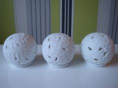 Set of 3 White Colony Ceramic Cut Out Globe Tealight Holders | eBay