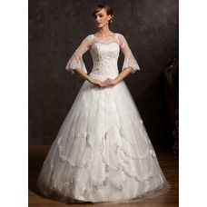 [US$ 222.99] Ball-Gown V-neck Floor-Length Satin Tulle Wedding Dress With Lace Beading (002015168)